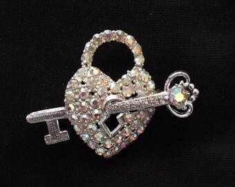 Rhinestone Heart Lock & Key Brooch / Pin