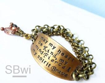 Brave Fierce Kind bracelet in bronze with czech glass detail