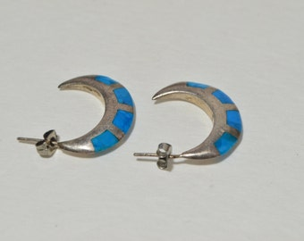 Vintage Sterling Silver 925 Turquoise Inlay Half Moon Hoop Earrings