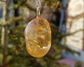 Polished Citrine, Chakra Pendant, chakra necklace, yoga necklace, natural gemstone, reiki jewelry, crystal energy, holistic gemstone, yoga