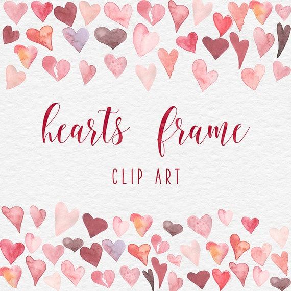 LOVE ME, Watercolor Hearts Frame clipart, Valentine Hearts ...