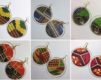 African hoop earrings, assorted African fabric earrings, afrocentric earrings, ankara earrings,  wooden earrings UK free shipping
