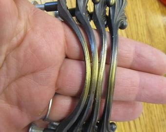 Set of 4 Antique Ornate Brass Drawer Handles