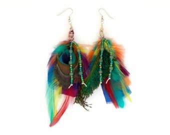 Peacock feather earrings, colorful earrings, hypo allergenic posts, green aventurine, hemp earrings, bohemian earrings, gypsy earrings