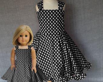 Dollie and me, Polka dot dresses, Matching girls dress, matching doll dress, american girl doll , matching twirl dress