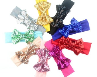 U Pick Bling Bow Headbands Shinny Sequin Bowknot Headbands Elastic Stripe Cotton Headband -YTK47