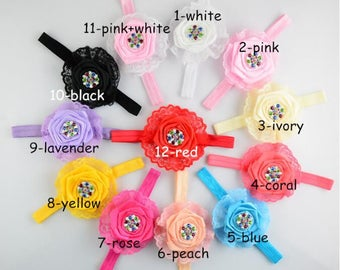 10pcs Fashionable Lace with Colorful Rhinestone Children Hair Band Newborn Children Headdress YTA81