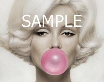 Fabric Art Quilt Block * Marilyn Monroe *  MM230  FREE SHIPPING