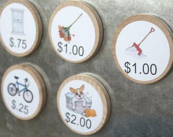 30 Custom Chore Magnets / Pictures & Money / 2 Inches / Children Chore Magnets / Magnetic Chore Chart System / Family Command Center