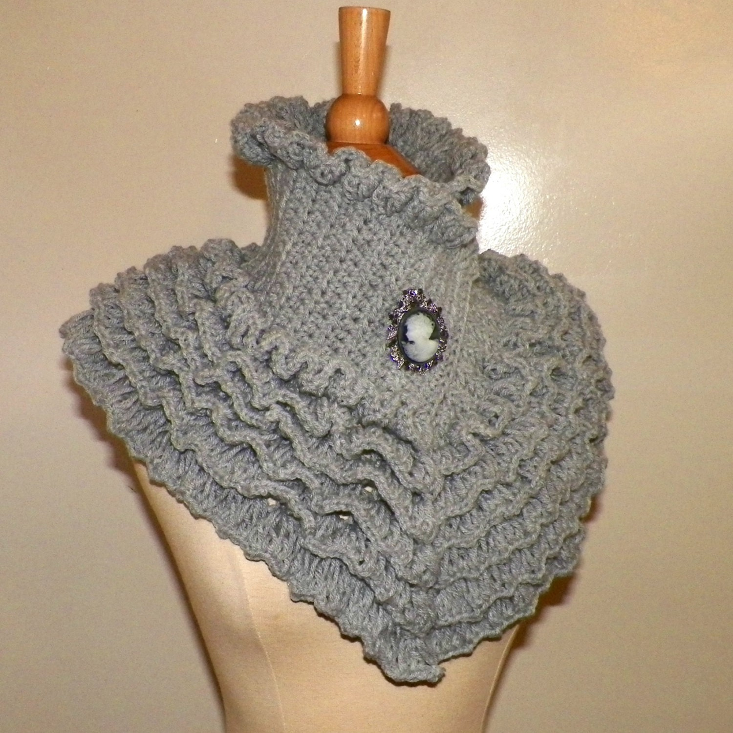 Gray Victorian Collar Scarf Steampunk Gothic High Neck Ruffled ...