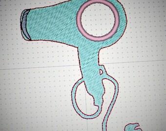 Machine Embroidery Pattern - Hair Dryer Applique Design - Hairdresser Embroidery Design - Blow Dryer Applique Embroidery Design