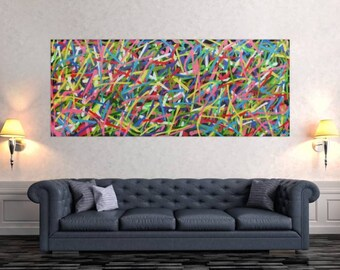 Original abstract artwork on canvas ready to hang 80x200cm #471