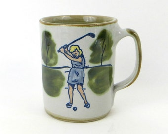 Vintage golfer woman stoneware mug by Louisville Stoneware