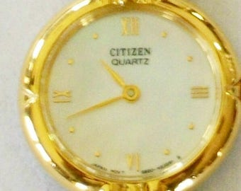New Ladies Citizen Watch! Mother of Pearl Dial! Roman Numerals! Gold Bezel and Band! Stunning!
