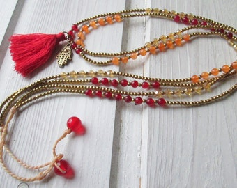 Pearl Necklace with pendant tree of life and tassel * hippie * boho * Festival jewellery