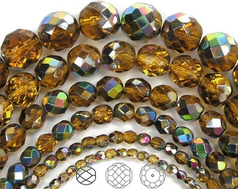 8mm (51pcs) Topaz Vitrail coated, Czech Fire Polished Round Faceted Glass Beads, 16 inch strand