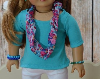 made for American Girl Dolls, blue  tunic top, white Capri leggings, handmade