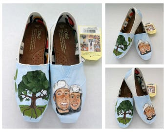 Wedding Shoes Unique Gift for the Bride, Bride and Groom Gift Portrait, Wedding Shoes Hand Painted Shoes  Painted Wedding TOMS Wedding Flats