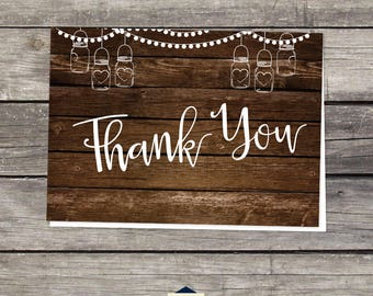 BBQ Baby Shower Thank You Cards - Babyq Baby Shower Thank You Cards - Rustic Mason Jars - 4x6 - Instant Download Baby-115