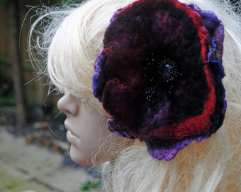 Claret Purple and Black Handfelted flower Hairclip or Extra Large Statement Brooch Wool with Silk nuno felted Flower fascinator headpiece