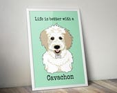 Cavachon dog print, Wall ...