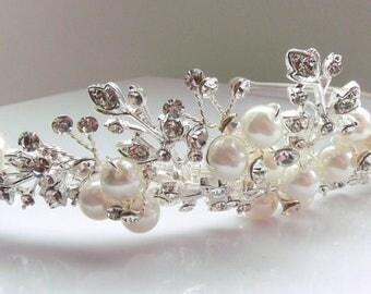 Pearl and rhinestone silver wedding tiara,Bridal tiara,Wedding tiara,Silver Tiara,wedding hair accessory,ivory Pearl tiara,shell pearl tiara