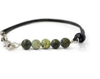 Bar Bracelet - Gifts Under 15 - Leather Bracelet - Gemstone Bracelet - Boho Leather Bracelet - Boho Beaded Bracelet  - Russian Serpentine