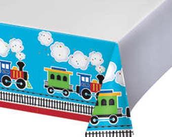 My Choo Choo Train tablecloth / train theme / train party / railroad party /