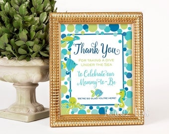 Ocean Theme Thank You Table Sign for Baby Shower   8x10   Ocean Critters and Dots   Digital Printable INSTANT DOWNLOAD