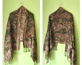 Vintage 70s Olive Green PAISLEY shawl Gypsy Fringe shawl BOHO HIPPIE Oversized scarf  1970s shawl