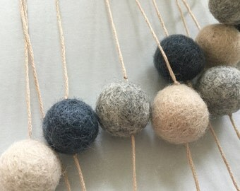 Pom-pom bunting - Greys and Neutral