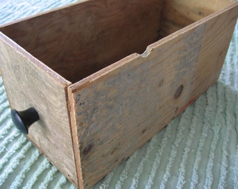 Old Wooden Box or Drawer with Black Knob