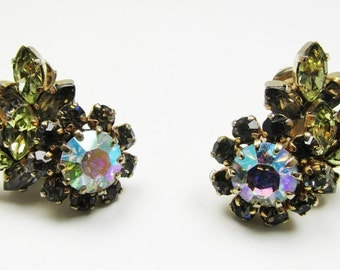 Gorgeous Vintage 1950s Signed Schoffel Rhinestone Floral Earrings