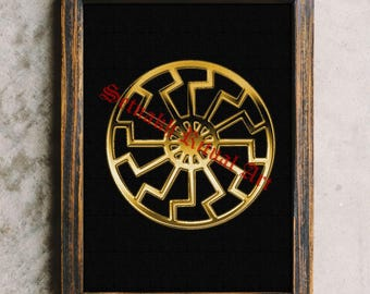 Black Sun print, Black Sun Wheel, Energy, Occult art, Magic poster #88