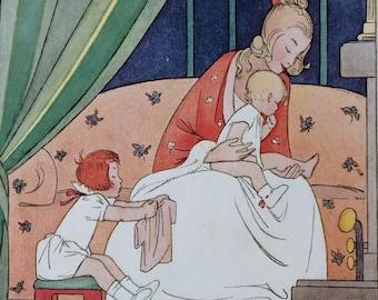 Vintage-1925-Book Plate-Henriette Willebeek Le Mair-Matted-Poor Anne-Baby-Toddler-Nursery-Nursery decor