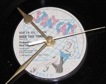 "Stray Cats rock this town  7"" vinyl record clock"