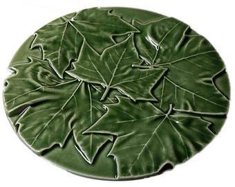 Pair Bordallo Penheiro Maple Leaf Majolica Dessert / Salad Plates