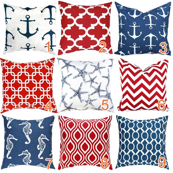 red navy blue throw pillow lumbar euro sham cushion cover. Black Bedroom Furniture Sets. Home Design Ideas