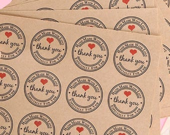 kraft thank you stickers 12 per vel