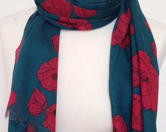 Red poppy scarf - red poppies scarf - green scarf - red floral shawl - red poppy wrap - in 100% cotton