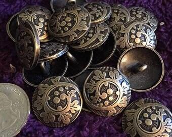 20mm antique gold brass tone metal shank buttons set of 10