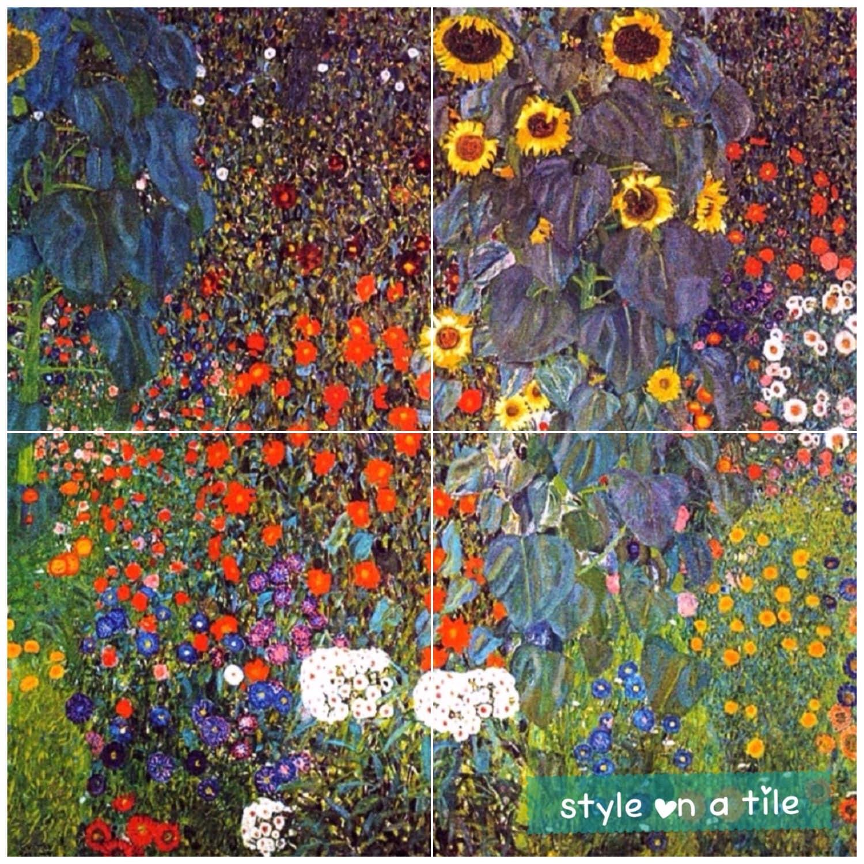 Lovely gustav klimt farm poppys sunflowers daisys cornflowers lovely gustav klimt farm poppys sunflowers daisys cornflowers design 4 x 6 or 152mm ceramic tile mural mosaic wall art splash back dailygadgetfo Gallery