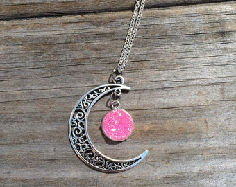 Moon charm with Pink Druzy necklace, Necklace, Moon necklace, Boho Necklace, Indie Necklace, Druzy Necklace