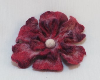 Red and White Flower Brooch, Felted Flower Brooch, Wool Jewelry