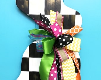 Checkered Bunny Door Hanger, Easter Door Hanger, Easter Wreath