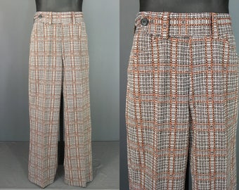 70's Men's Pants........70's Earth Tone Plaid Polyester Men's Pants Slacks