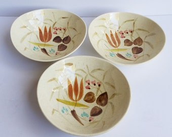 Set of 3 Red Wing Pottery Random Harvest Pattern Hand Painted Cereal or Salad Bowls