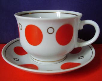 Vintage Soviet Tea Cup and Saucer Red Polka Dots