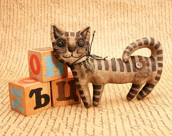 Extreme Primitive Folk Art Cat little brown Cat textile Animal fragrant gift.