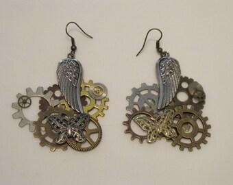 Angel Wing Steampunk Earrings